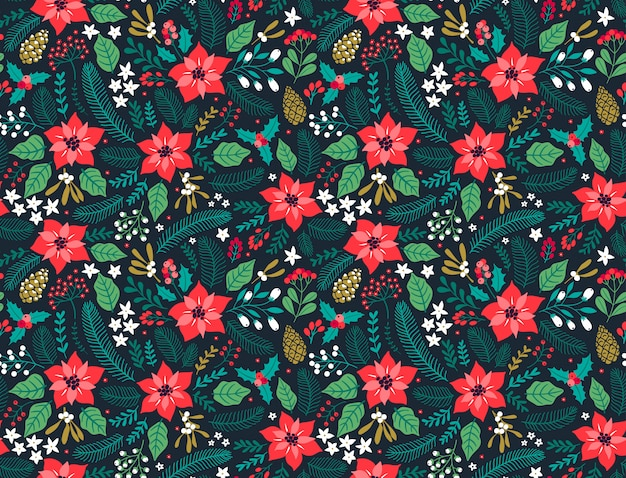 Seamless pattern floreale con piante invernali. sfondo floreale invernale. reticolo variopinto con gli elementi floreali di natale su una priorità bassa blu. design natalizio per stampe di moda di natale e capodanno.