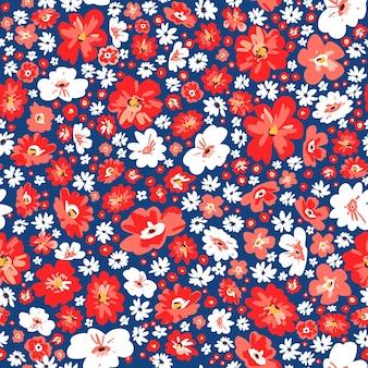 Fondo floreale senza cuciture di estate. fiori carini di prato vettoriale