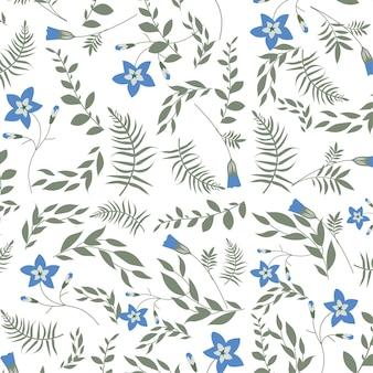 Modello di fiori senza soluzione di continuità isolato su sfondo bianco con boccioli di fiori blu e decorativi