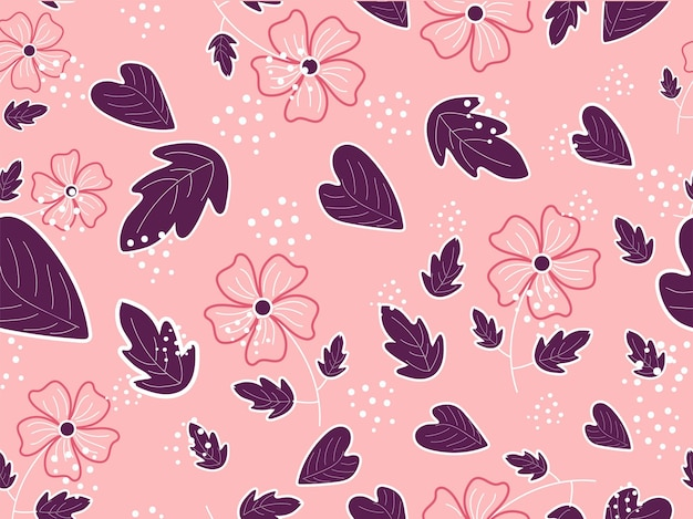 Fiori senza soluzione di continuità con foglie decorate su sfondo rosa chiaro.