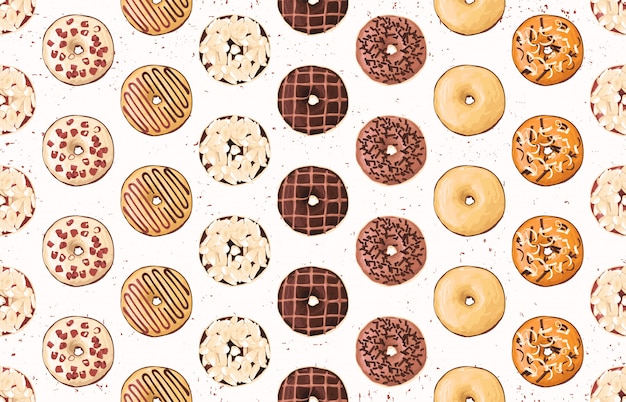 Modello di cibo senza soluzione di continuità con ciambelle dolci