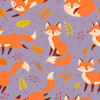 Modello di volpi senza soluzione di continuità. volpe autunnale, simpatico poster animale arancione.