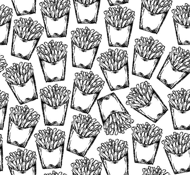 Seamless patatine fritte pattern in stile di disegno.