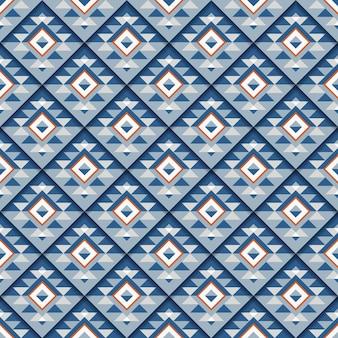 Modello quadrato blu geometrico senza cuciture con ombra.
