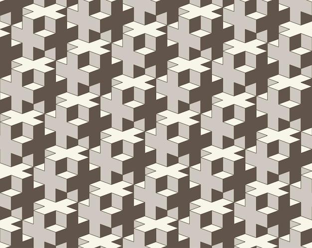 Seamless pattern geometrici 3d cross piastrellatura abstract background