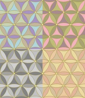 Seamless disegno geometrico di esagoni di quattro combinazioni di colori pastello