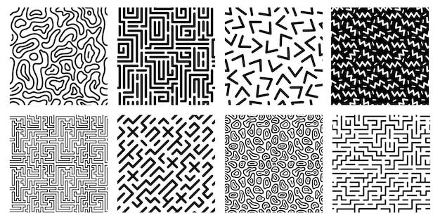 Seamless pattern geometrici. labirinto a strisce, texture in stile anni '80 e modelli di labirinti digitali astratti