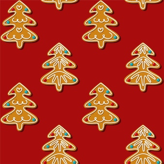 Biscotto senza cuciture dell'albero di natale del pan di zenzero. pattern, sfondo rosso.