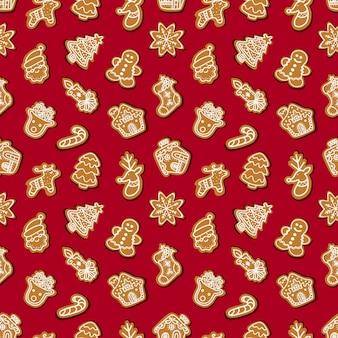 Modello di pan di zenzero senza soluzione di continuità per celebrare il natale su uno sfondo rosso illustrazione vettoriale