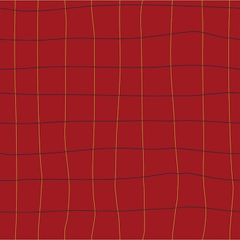 Percalle senza cuciture motivo a scacchi cottagecore disegno su sfondo rosso disegnato a mano
