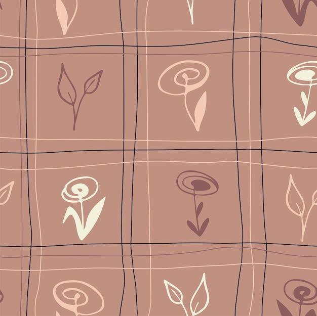 Percalle senza cuciture motivo a scacchi cottagecore colori pastello linee di fiori su sfondo marrone