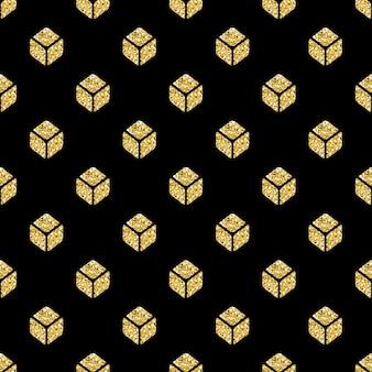 Motivo di simmetria quadrata isometrica senza saldatura glitter oro su sfondo nero