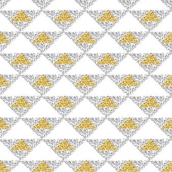 Sfondo senza soluzione di continuità oro e argento triangolo glitter