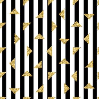 Senza soluzione di continuità oro triangolo modello glitter su sfondo striscia