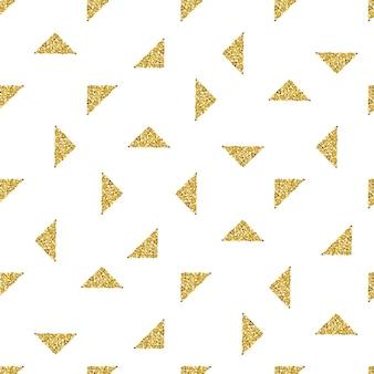 Modello di glitter senza saldatura triangolo d'oro su sfondo bianco