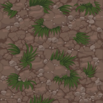 Motivo a terra senza cuciture con erba, struttura del suolo con piante per carta da parati. illustrazione dello sfondo del prato naturale per la gui del gioco.
