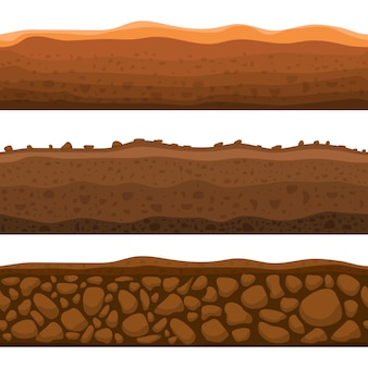 Illustrazione senza cuciture di progettazione della sezione a terra isolata su fondo bianco