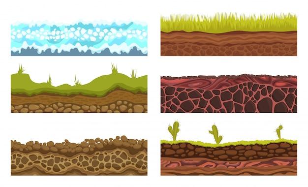 Motivi senza soluzione di continuità, suoli e terra vettoriale impostato per i giochi dell'interfaccia utente