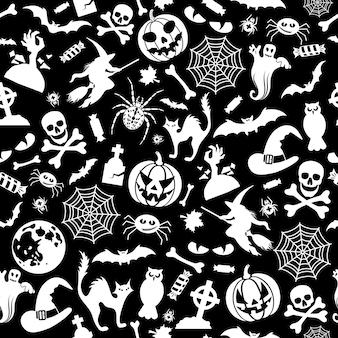 Reticolo senza giunte di halloween con pipistrelli, fantasma e zucca. illustrazione vettoriale isolato