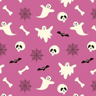 Seamless pattern di halloween con fantasmi teschio pipistrello web e bone