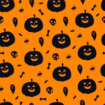 Modello di halloween senza cuciture con zucche, teschi, fantasmi