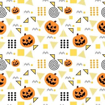 Modello di halloween senza soluzione di continuità con memphis alla moda geometrica
