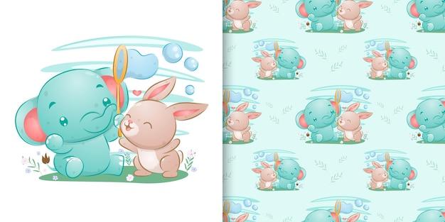 La mano senza giunte disegnata dell'elefante con il coniglio che gioca insieme dell'illustrazione