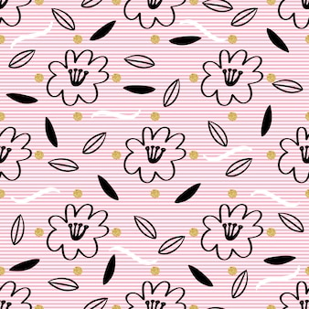 Senza soluzione di continuità disegnata a mano floreale e foglia con oro puntino glitter modello su sfondo rosa striscia