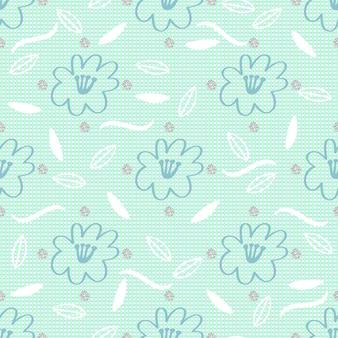 Senza soluzione di continuità disegnata a mano floreale e foglia con argento dot glitter pattern background