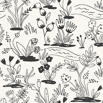 Modello disegnato a mano senza soluzione di continuità con i fiori. il modello senza cuciture può essere utilizzato per carta da parati, riempimenti a motivo, sfondo della pagina web, trame di superficie.