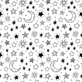 Stelle disegnate a mano senza soluzione di continuità. schizzo del cielo stellato, stella di scarabocchio e illustrazione del modello di notte