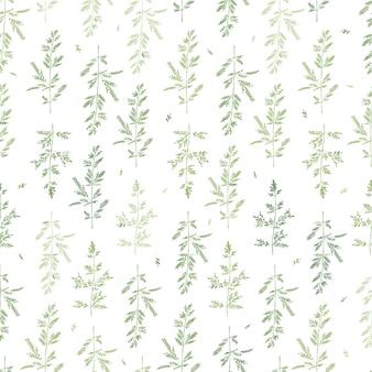 Modello di erbe senza soluzione di continuità rami verdi astratti stile disegnato a mano sfondo monocromatico con foglie