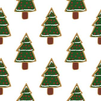 Modello di vacanza senza soluzione di continuità con i biscotti dell'albero di abete di natale decorativi verdi