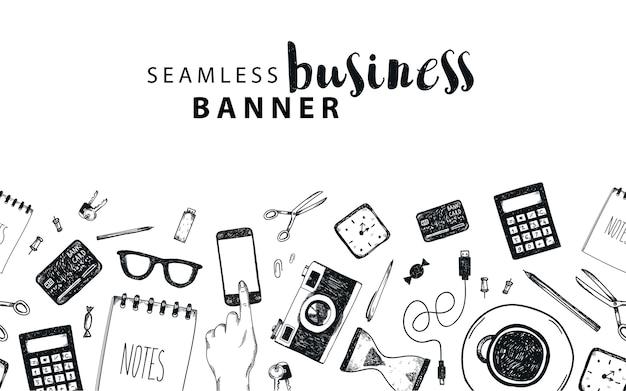 Banner orizzontale senza soluzione di continuità, affari, sfondo doodle freelance, insieme di oggetti isolati. strumenti di office, disegnati a mano, in bianco e nero