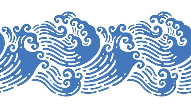Illustrazioni senza cuciture dell'onda giapponese nel design scarabocchio Vettore Premium