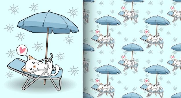 Gatto kawaii senza soluzione di continuità sulla culla con un modello di ombrello all'aperto