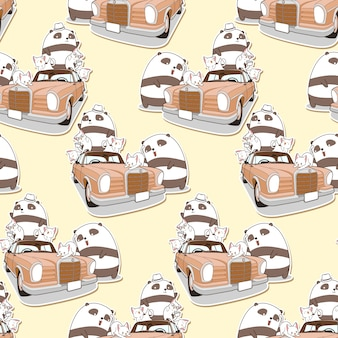 Panda e gatti kawaii senza soluzione di continuità con pattern auto d'epoca.