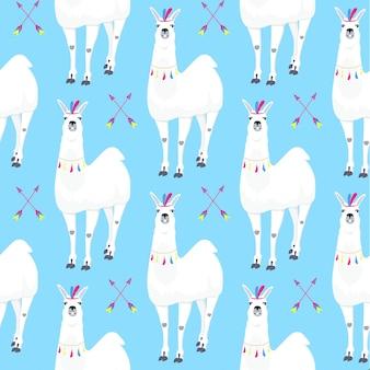 Modello senza cuciture per bambini con lama divertente. simpatico personaggio dei cartoni animati di alpaca per la decorazione della scuola materna, design di abbigliamento per bambini, tessuto, confezione, tessuto, carta da parati