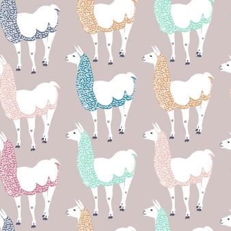 Modello senza cuciture per bambini con lama divertente. simpatico personaggio dei cartoni animati di alpaca per la decorazione della scuola materna, design di abbigliamento per bambini, tessuto, confezione, tessuto, carta da parati.
