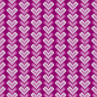 Reticolo lavorato a maglia senza giunte con i cuori