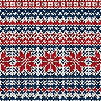 Seamless knitting pattern. design maglione per le vacanze invernali Vettore Premium