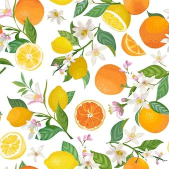 Reticolo senza giunte di limone e arancia con frutti tropicali, foglie, fiori sfondo. illustrazione vettoriale disegnata a mano in stile acquerello per copertina romantica estiva, carta da parati tropicale, texture vintage