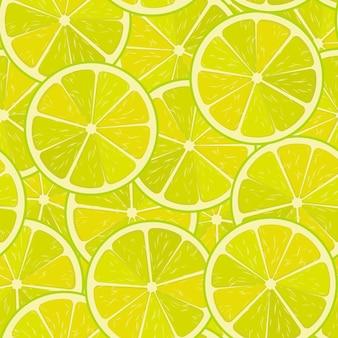 Seamless pattern di vettore di lime o limone sfondo cibo minimalista vitamine texture ripetibile