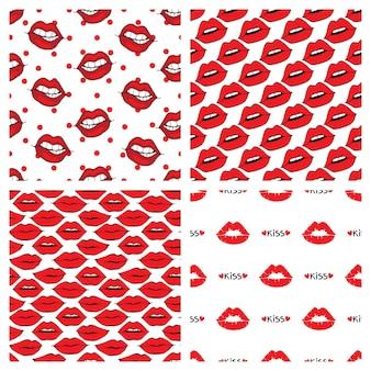 Modello di labbra e baci senza soluzione di continuità su sfondo bianco