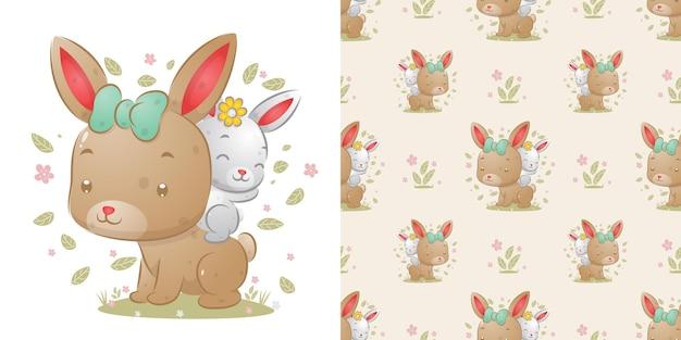 La seamless del piccolo coniglio seduto sul retro del grande coniglio dell'illustrazione