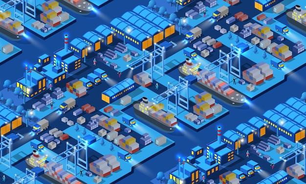 Le fabbriche di barche di navi con argine del porto senza soluzione di continuità, magazzini notturni, neon, viola