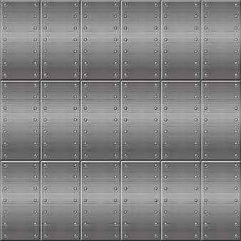 Sfondo metallico senza soluzione di continuità, piastre metalliche che si ripetono in una riga.