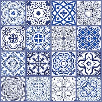 Mosaico senza cuciture in ceramica scandinavo e modello blu marocchino