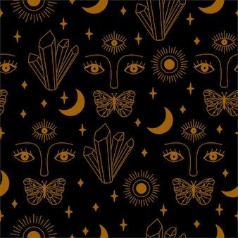 Modello mistico senza cuciture con cristallo, occhi, farfalla e luna in vettoriale.