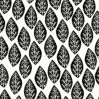 Il motivo floreale astratto naturale senza soluzione di continuità su sfondo bianco lascia la ruota della margherita blackwhite